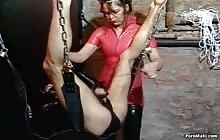 Horny brunette slut rides her slave's cock