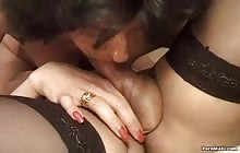 Hot blonde shemale and brunette MILF having sex