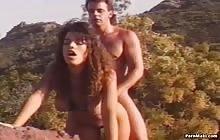 Curly brunette babe Bianca Trump gets banged outdoor with Derek Lane