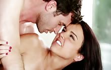Young pornstar babe Dillion Harper gets her pussy fucked by James Deen
