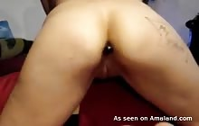 Swiss GF with a plug up her ass and a cock in her pussy