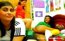 Three lesbian teens get naughty on webcam