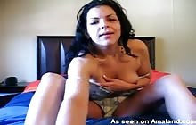 Single Latina Mom plays with her tits and pussy
