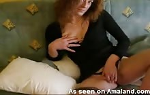 MILF rubs her pussy and lets out a titty