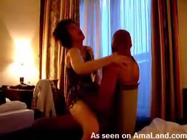 Interracial couple fucking in a hotel