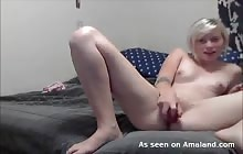 Pierced punk chick masturbates on webcam