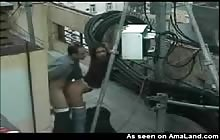 Security camera records rooftop quickie
