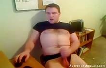 Horny brunette guy jacks off and cums on webcam
