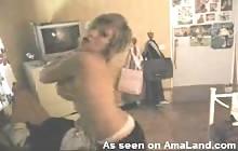 Emo girl dancing topless