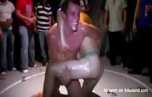 College fraternity guys having some gay wrestling fun