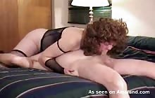 Curly haired wife has a juicy 69 in her lingerie