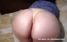 Brunette BBW shows off her huge ass in a thong