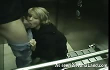 Blonde GF sucking cock while riding the elevator