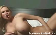 Big-tittied blonde MILF masturbates for her webcam