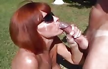 Busty redhead MILF swallowing cum compilation video