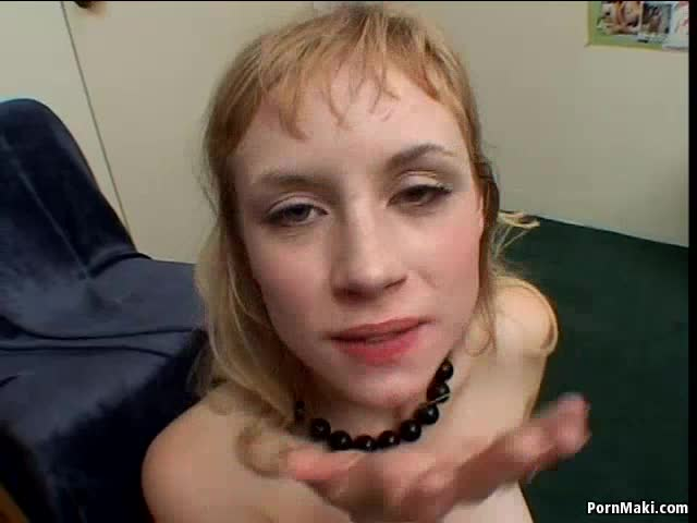 Dirty blonde girl Meadow gives blowjob and swallows in gangbang