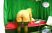 Hot blonde MILF has solo with a dildo