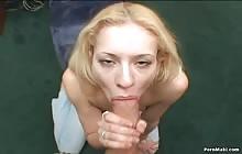 Pretty blonde slut Morgan March gives POV blowjob to big cock