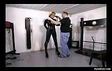 Hot blonde in latex gets tied by a master