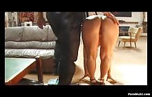 Curly blonde gets blindfolded and spanked
