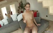 Brunette babe Defrancesca Gallardo jerks her cunt