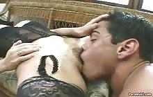 Gorgeous Latina babe takes white cock in the butthole