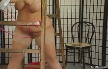 Chubby brunette gets tied in bondage
