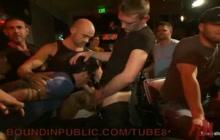 Gangbang in gay bar
